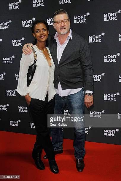 Actress Dennenesch Zoude and director Carlo Rola attend the Montblanc John Lennon Edition Pen Launch Party at Spindler Klatt on September 12 2010 in...
