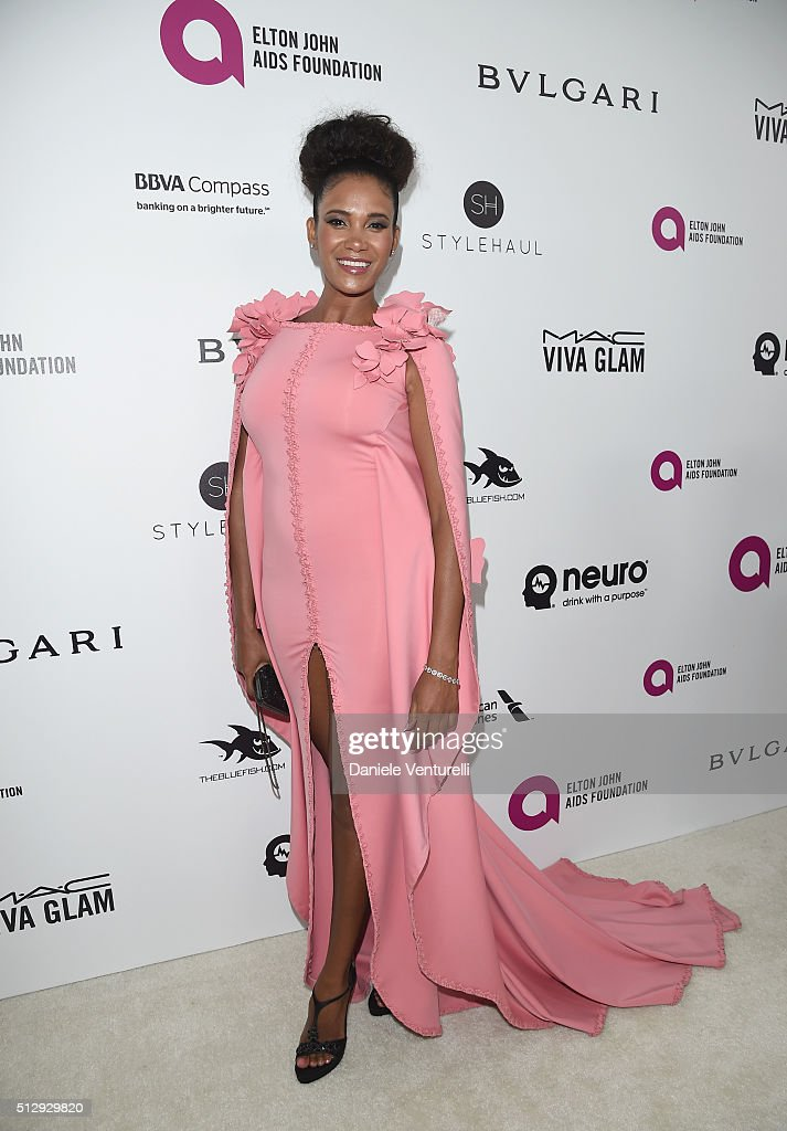Actress Denny Mendez attends Bulgari at the 24th Annual Elton John AIDS Foundation's Oscar Viewing Party at The City of West Hollywood Park on February 28, 2016 in West Hollywood, California.