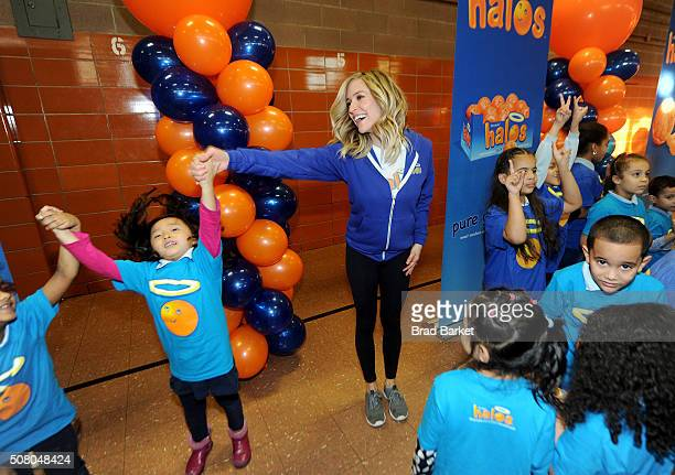 Actress designer and mother Kristin Cavallari celebrates a day of 'pure goodness' by leading a fitness activity and delivering Wonderful Halos...