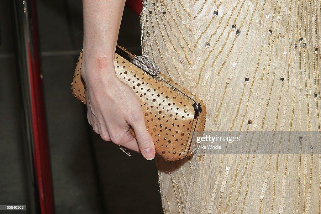 Actress Desiree Hall (clutch detail) arrives at the premiere of Magnet's 'Best Night Ever' at ArcLight Cinemas on January 29, 2014 in Hollywood, California.