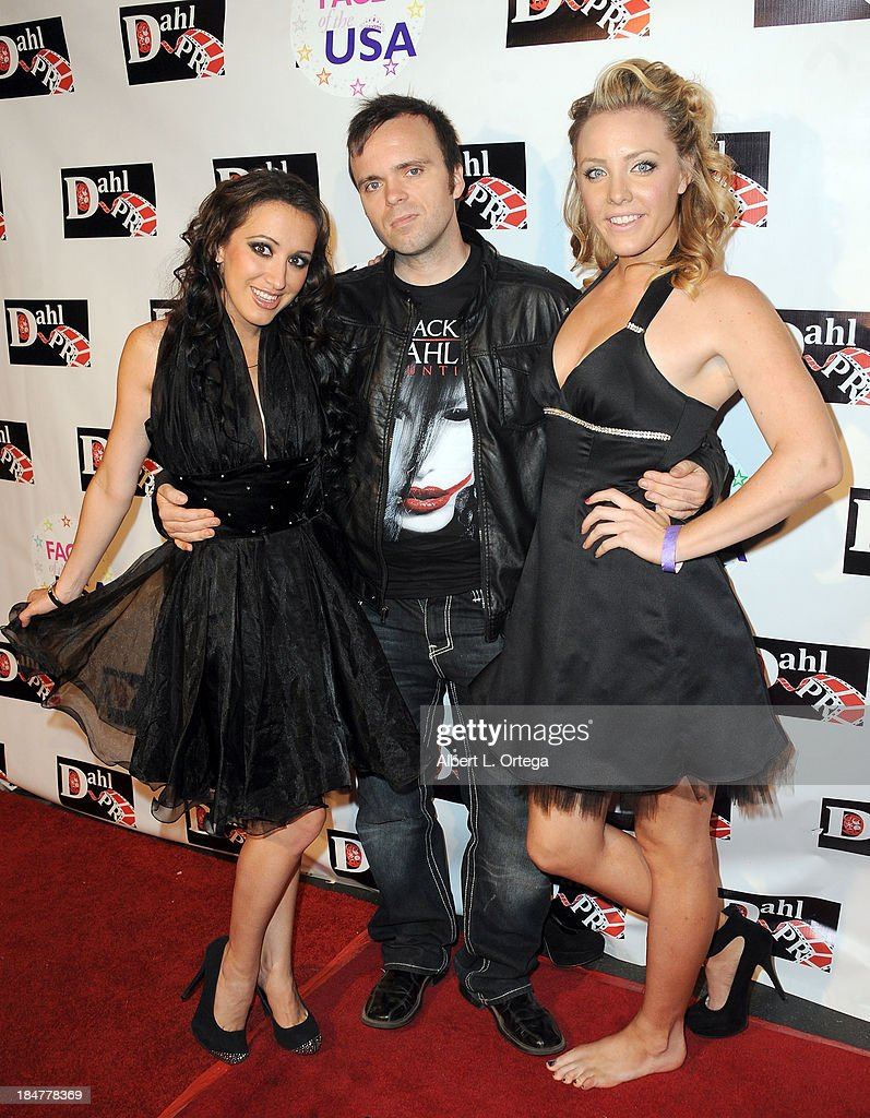 Actress Devanny Pinn, director Brandon Slage and arrive for 'The Black Dahlia Haunting' DVD Release Party held at The Station Hollywood on October 15, 2013 in Hollywood, California.
