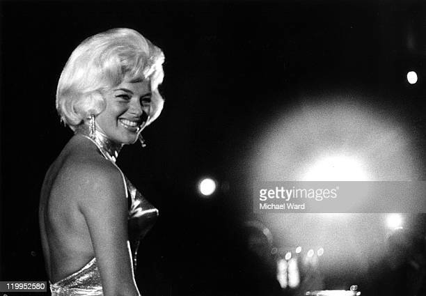 Actress Diana Dors at the Harrison Gibson's 'Room at the Top' nightclub Ilford Britain