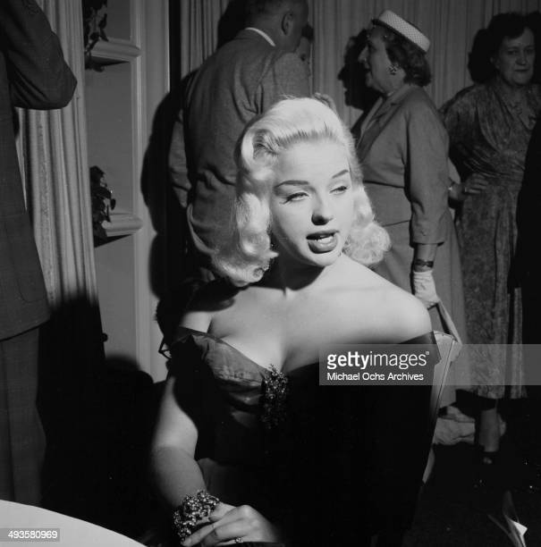 Actress Diana Dors attends her cocktail party in Los Angeles California
