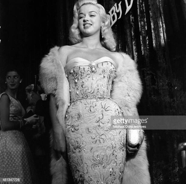 Actress Diana Dors attends 'Moby Dick' premiere party in Los Angeles California