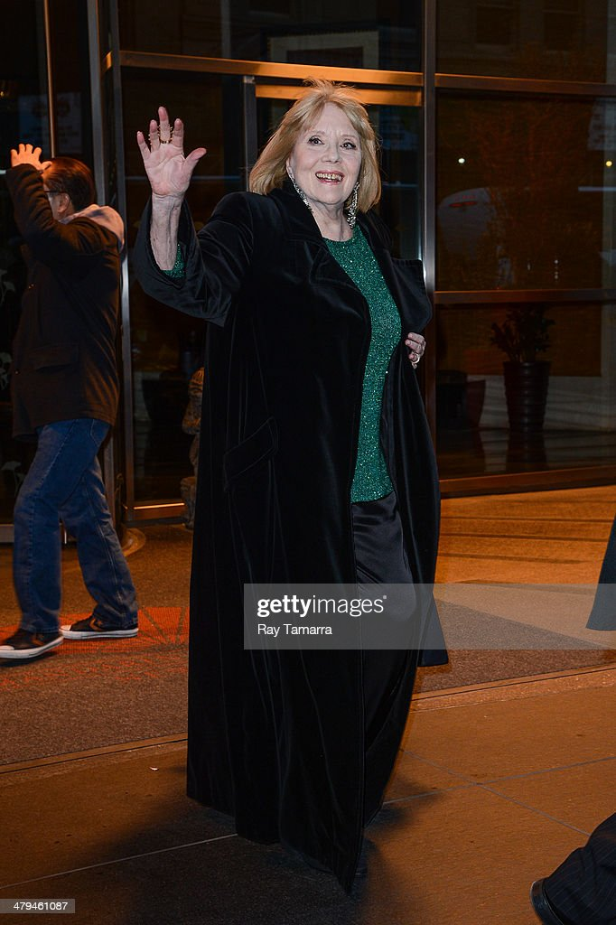 Actress Diana Rigg leaves a Midtown Manhattan hotel on March 18, 2014 in New York City.