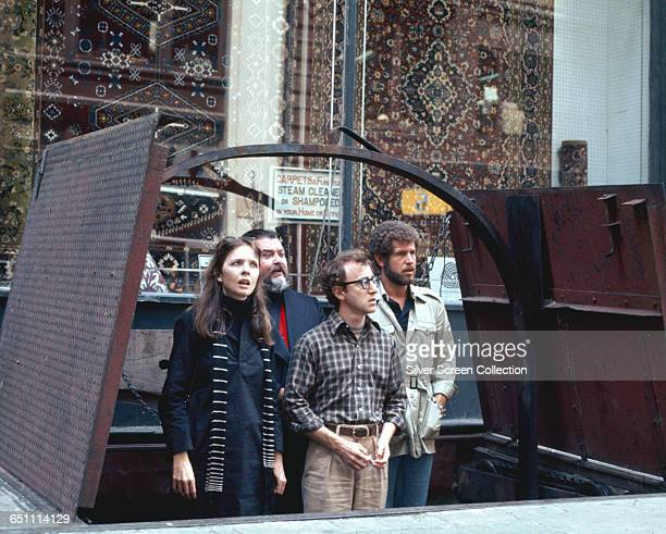 Actress Diane Keaton as Annie Hall actor writer and director Woody Allen as Alvy Singer and actor Tony Roberts as Rob in the film 'Annie Hall' 1977
