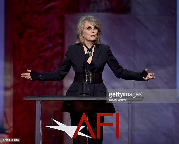 Actress Diane Keaton speaks onstage during the 2015 AFI Life Achievement Award Gala Tribute Honoring Steve Martin at the Dolby Theatre on June 4 2015...