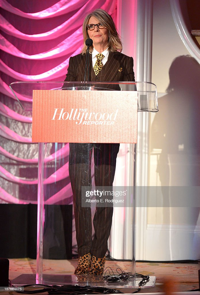 Actress <a gi-track='captionPersonalityLinkClicked' href=/galleries/search?phrase=Diane+Keaton&family=editorial&specificpeople=201554 ng-click='$event.stopPropagation()'>Diane Keaton</a> speaks onstage during The Hollywood Reporter's 'Power 100: Women In Entertainment' Breakfast at the Beverly Hills Hotel on December 5, 2012 in Beverly Hills, California.