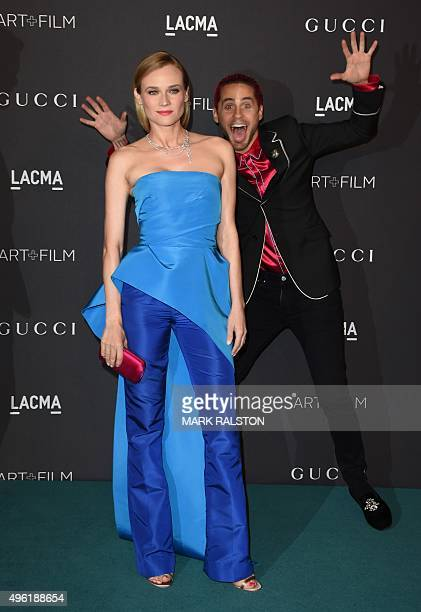 Actress Diane Kruger and actor Jared Leto arrive for the LACMA 2015 ArtFilm Gala Honoring James Turrell and Alejandro G Iñárritu Presented by Gucci...