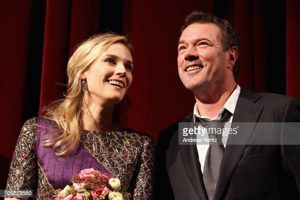 Actress Diane Kruger and actor Sebastian Koch attendr the 'Unknown' Premiere during day nine of the 61st Berlin International Film Festival at...