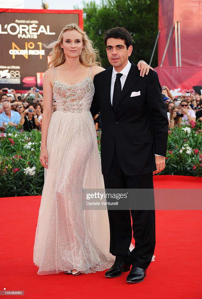 Actress Diane Kruger and CEO of JaegerLeCoultre Jerome Lambert attend 'The Ides of March' Premiere during the 68th Venice International Film Festival...