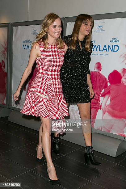 Actress Diane Kruger and director Alice Winocour attend the 'Maryland' Premiere at Mk2 Bibliotheque on September 24 2015 in Paris France