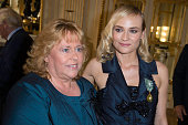 Actress Diane Kruger and her mother MariaTheresa Heidkruger pose after Diane Kruger received the insignia of Officer of the Order of Arts and Letters...