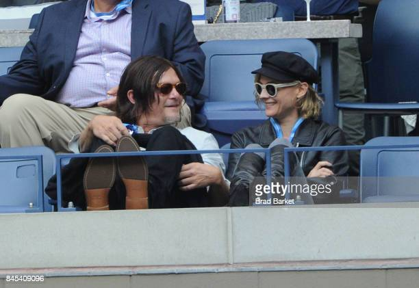 Actress Diane Kruger and Norman Reedus watch the men's US Open Finals Season in the Grey Goose Suite at The 2017 US Open at USTA Billie Jean King...