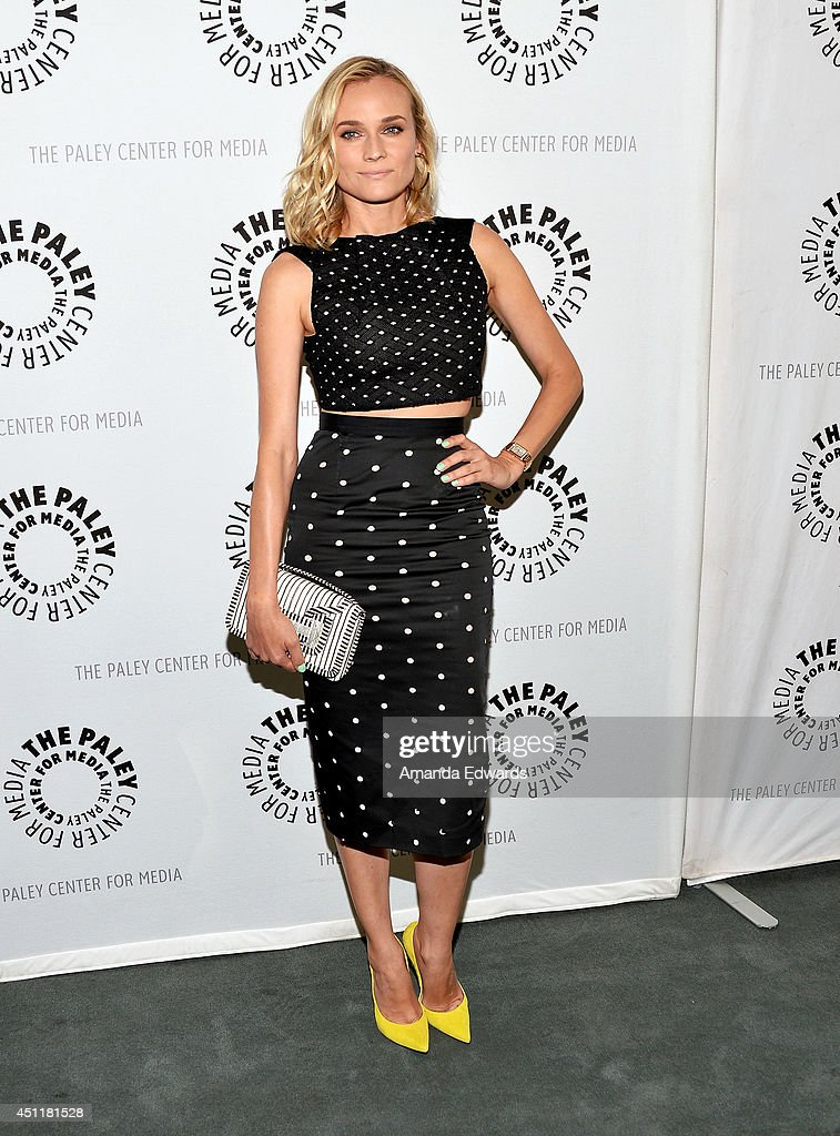 actress <a gi-track='captionPersonalityLinkClicked' href=/galleries/search?phrase=Diane+Kruger&family=editorial&specificpeople=202640 ng-click='$event.stopPropagation()'>Diane Kruger</a> arrives at The Paley Center for Media's premiere screening of FX's 'The Bridge' at The Paley Center for Media on June 24, 2014 in Beverly Hills, California.