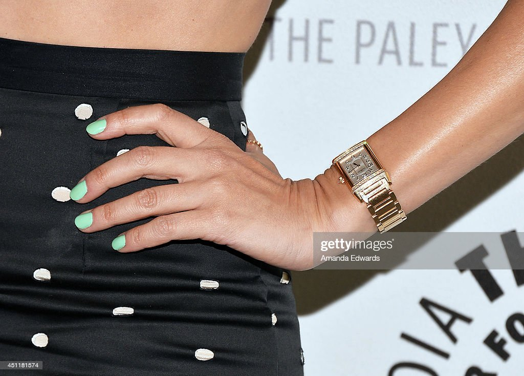 actress <a gi-track='captionPersonalityLinkClicked' href=/galleries/search?phrase=Diane+Kruger&family=editorial&specificpeople=202640 ng-click='$event.stopPropagation()'>Diane Kruger</a> (watch and manicure detail) arrives at The Paley Center for Media's premiere screening of FX's 'The Bridge' at The Paley Center for Media on June 24, 2014 in Beverly Hills, California.