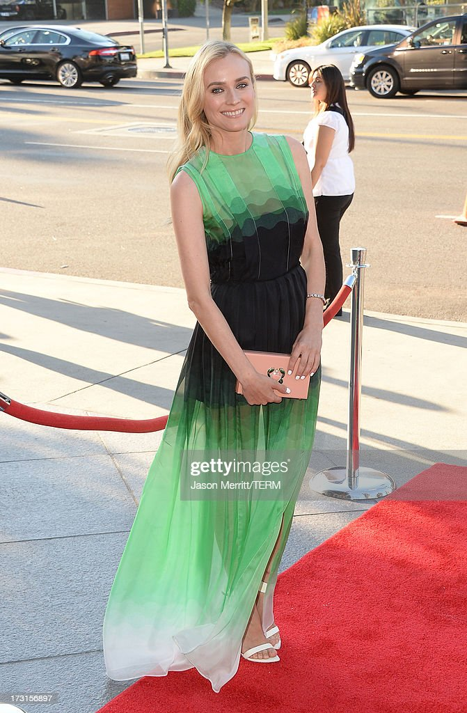 Actress <a gi-track='captionPersonalityLinkClicked' href=/galleries/search?phrase=Diane+Kruger&family=editorial&specificpeople=202640 ng-click='$event.stopPropagation()'>Diane Kruger</a> arrives at the series premiere of FX's 'The Bridge' at the DGA Theater on July 8, 2013 in Los Angeles, California.