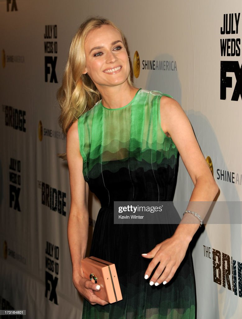 Actress <a gi-track='captionPersonalityLinkClicked' href=/galleries/search?phrase=Diane+Kruger&family=editorial&specificpeople=202640 ng-click='$event.stopPropagation()'>Diane Kruger</a> arrives at the series premiere of FX's 'The Bridge' at the Directors Guild of America on July 8, 2013 in Los Angeles, California.