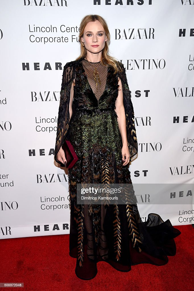 Actress <a gi-track='captionPersonalityLinkClicked' href=/galleries/search?phrase=Diane+Kruger&family=editorial&specificpeople=202640 ng-click='$event.stopPropagation()'>Diane Kruger</a> attends an evening honoring Valentino at Lincoln Center Corporate Fund Black Tie Gala on December 7, 2015 in New York City.