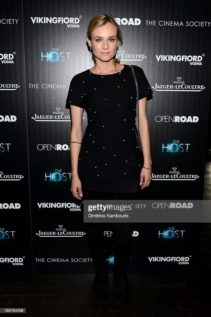 Actress <a gi-track='captionPersonalityLinkClicked' href=/galleries/search?phrase=Diane+Kruger&family=editorial&specificpeople=202640 ng-click='$event.stopPropagation()'>Diane Kruger</a> attends The Cinema Society and Jaeger-LeCoultre screening of Open Road Films' 'The Host' at Tribeca Grand Hotel on March 27, 2013 in New York City.