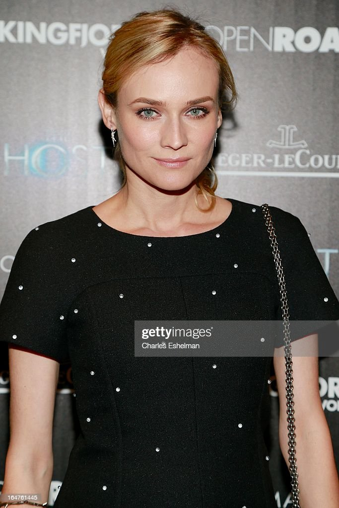 Actress <a gi-track='captionPersonalityLinkClicked' href=/galleries/search?phrase=Diane+Kruger&family=editorial&specificpeople=202640 ng-click='$event.stopPropagation()'>Diane Kruger</a> attends The Cinema Society & Jaeger-LeCoultre Host A Screening Of Open Road Films' 'The Host' at the Tribeca Grand Hotel - Screening Room on March 27, 2013 in New York City.