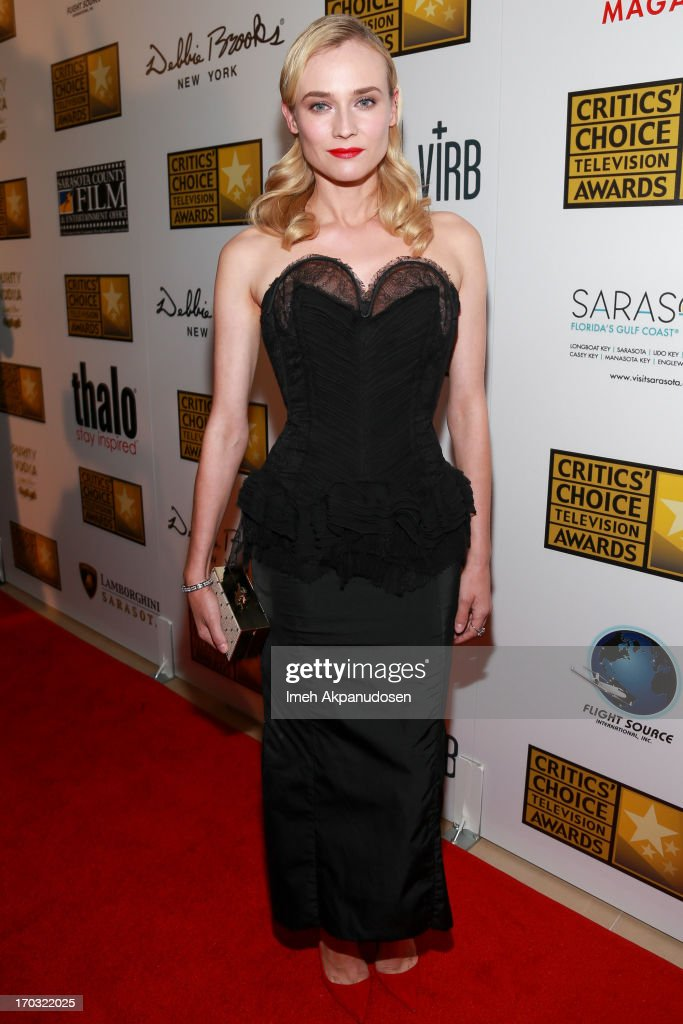 Actress <a gi-track='captionPersonalityLinkClicked' href=/galleries/search?phrase=Diane+Kruger&family=editorial&specificpeople=202640 ng-click='$event.stopPropagation()'>Diane Kruger</a> attends the Critics' Choice Television Awards at The Beverly Hilton Hotel on June 10, 2013 in Beverly Hills, California.