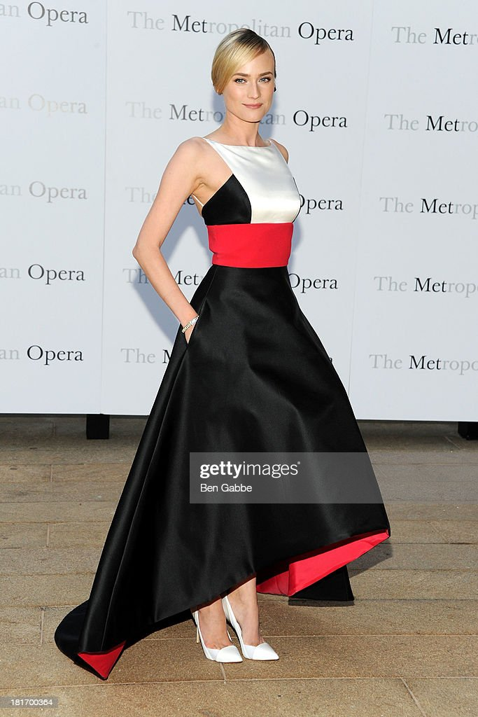 Actress <a gi-track='captionPersonalityLinkClicked' href=/galleries/search?phrase=Diane+Kruger&family=editorial&specificpeople=202640 ng-click='$event.stopPropagation()'>Diane Kruger</a> attends the Metropolitan Opera season opening production of 'Eugene Onegin' at The Metropolitan Opera House on September 23, 2013 in New York City.