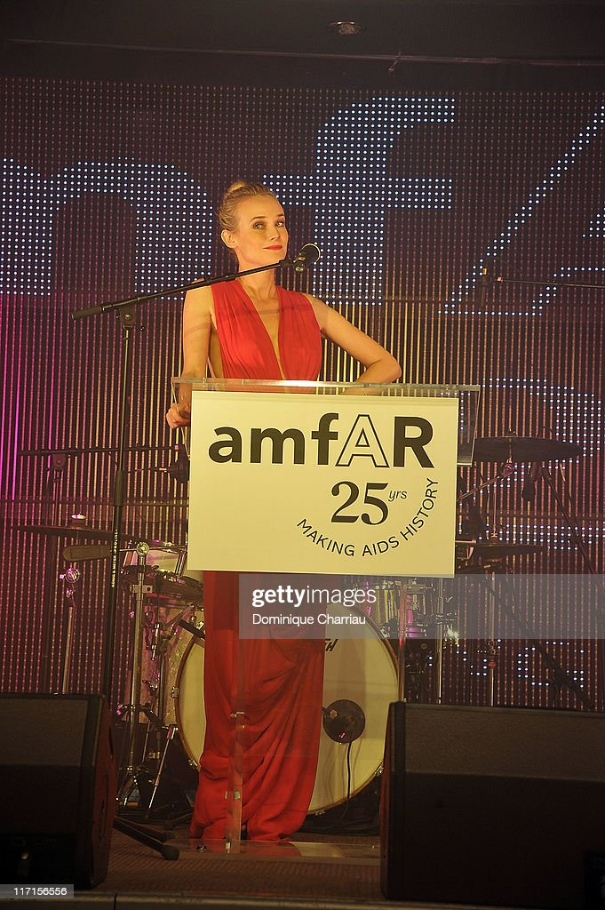 Actress <a gi-track='captionPersonalityLinkClicked' href=/galleries/search?phrase=Diane+Kruger&family=editorial&specificpeople=202640 ng-click='$event.stopPropagation()'>Diane Kruger</a> Delivers a speech durring the 25th amfAR Inspiration Gala at Pavillon Gabriel on June 23, 2011 in Paris, France.