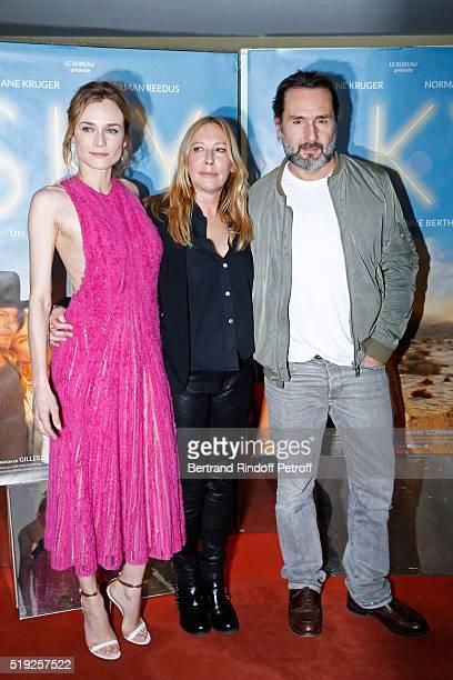 Actress Diane Kruger director Fabienne Berthaud and actor Gilles Lellouche attend the 'Sky' Paris Premiere at UGC Cine Cite des Halles on April 4...