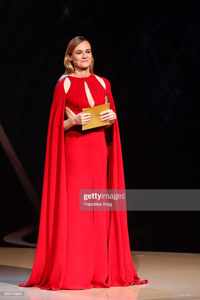 Actress <a gi-track='captionPersonalityLinkClicked' href=/galleries/search?phrase=Diane+Kruger&family=editorial&specificpeople=202640 ng-click='$event.stopPropagation()'>Diane Kruger</a> during the Lola - German Film Award (Deutscher Filmpreis) 2016 - Show on May 27, 2016 in Berlin, Germany.