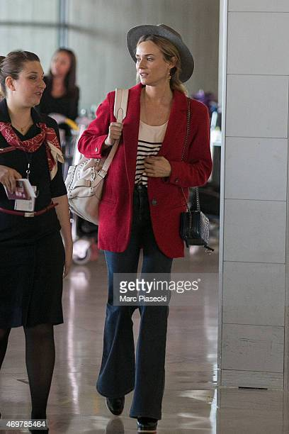 Actress Diane Kruger is seen at CharlesdeGaulle airport on April 15 2015 in Paris France