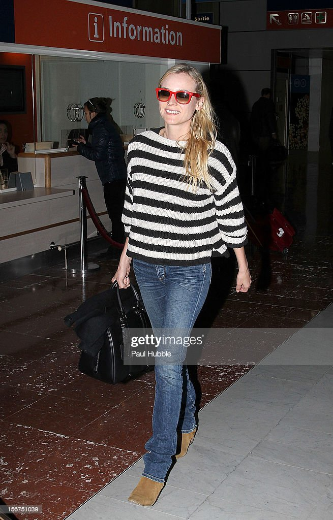 Actress <a gi-track='captionPersonalityLinkClicked' href=/galleries/search?phrase=Diane+Kruger&family=editorial&specificpeople=202640 ng-click='$event.stopPropagation()'>Diane Kruger</a> is sighted at aeroport de Roissy on November 20, 2012 in Paris, France.