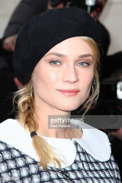 Actress Diane Kruger leaves the Chanel Spring/Summer 2013 HauteCouture show as part of Paris Fashion Week at Grand Palais on January 22 2013 in Paris...