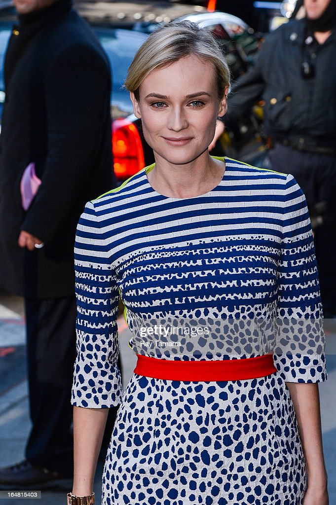 Actress <a gi-track='captionPersonalityLinkClicked' href=/galleries/search?phrase=Diane+Kruger&family=editorial&specificpeople=202640 ng-click='$event.stopPropagation()'>Diane Kruger</a> leaves the 'Good Morning America' taping at the ABC Times Square Studios on March 28, 2013 in New York City.