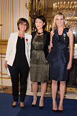 Actress Diane Kruger receives the insignia of Officer of the Order of Arts and Letters and journalist Michele Fitoussi receives the insignia of...