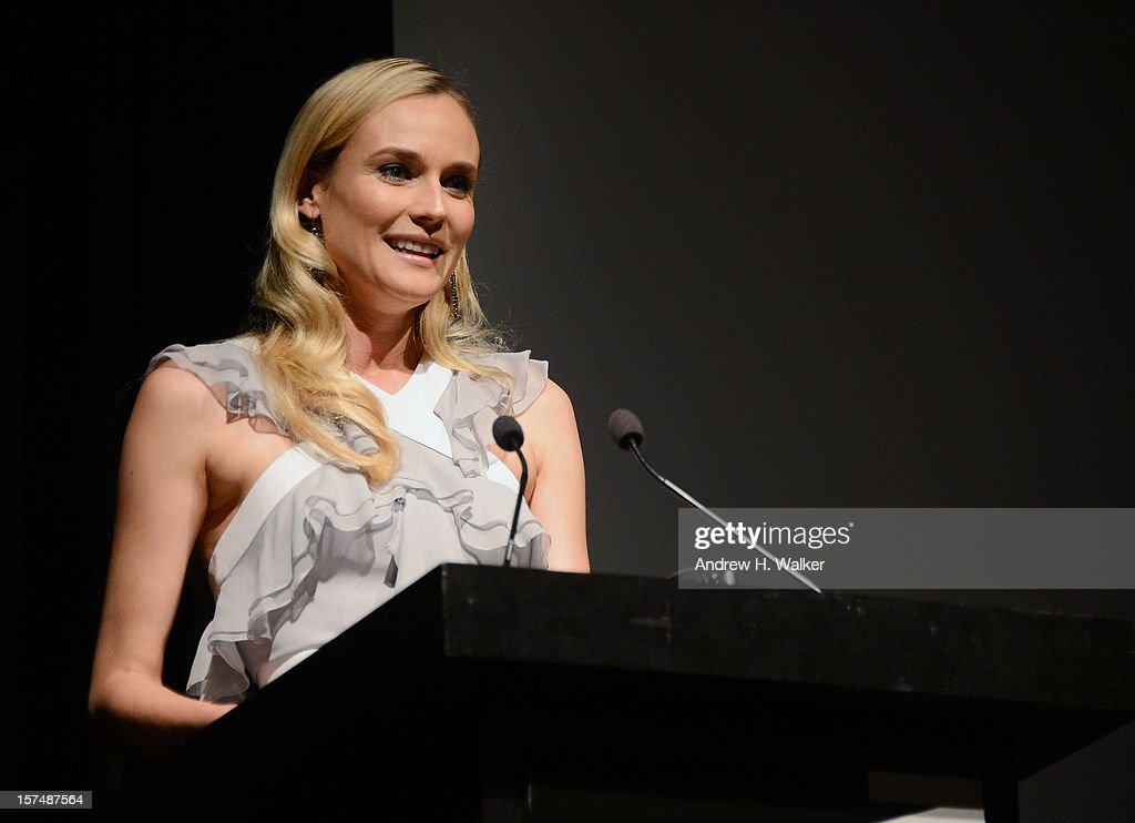 Actress <a gi-track='captionPersonalityLinkClicked' href=/galleries/search?phrase=Diane+Kruger&family=editorial&specificpeople=202640 ng-click='$event.stopPropagation()'>Diane Kruger</a> speaks at The Museum of Modern Art Film Benefit Honoring Quentin Tarantino at MOMA on December 3, 2012 in New York City.