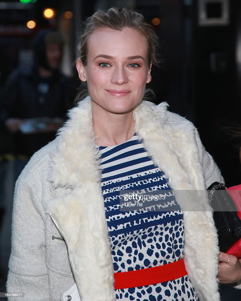 Actress <a gi-track='captionPersonalityLinkClicked' href=/galleries/search?phrase=Diane+Kruger&family=editorial&specificpeople=202640 ng-click='$event.stopPropagation()'>Diane Kruger</a> visits 'Good Morning America' at GMA Studios in Times Square on March 28, 2013 in New York City.