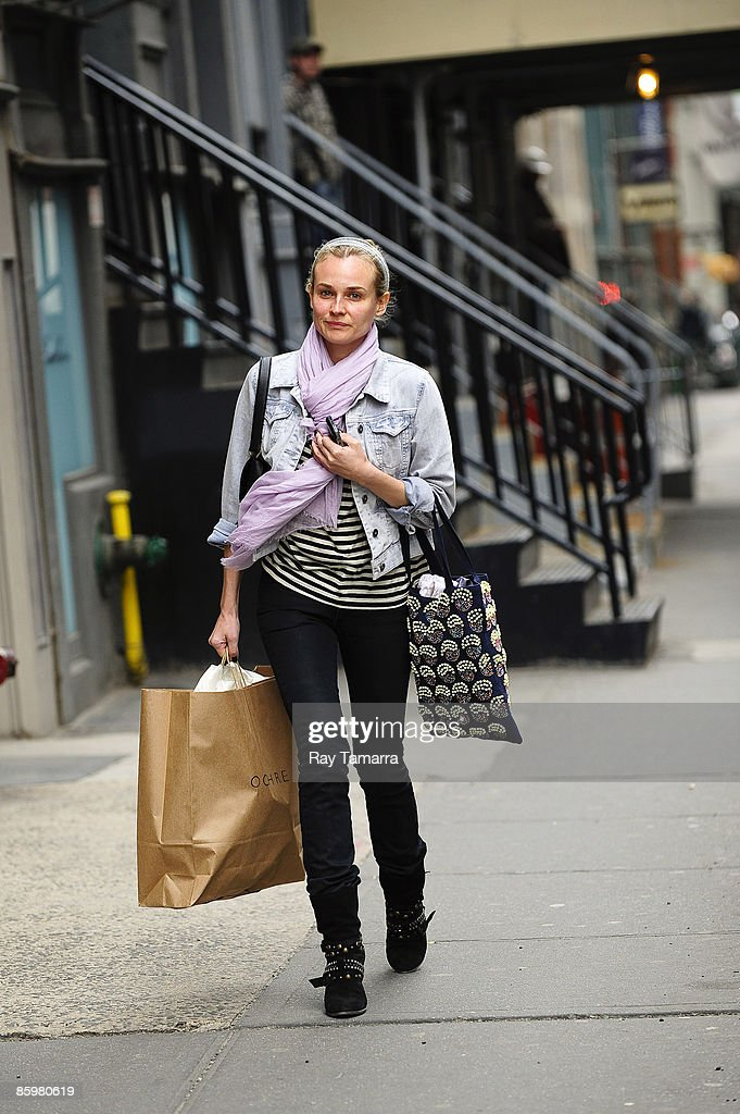 Actress Diane Kruger walks in Soho April 14, 2009 in New York City.