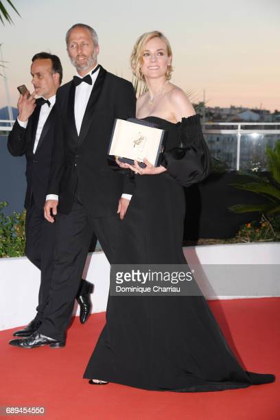Actress Diane Kruger who won the award for best actress for her part in the movie 'In The Fade' attends the Palme D'Or Winner Photocall during the...