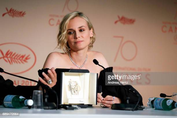 Actress Diane Kruger winner of best actress for her part in the movie 'In The Fade' attends the Palme D'Or winner press conference during the 70th...