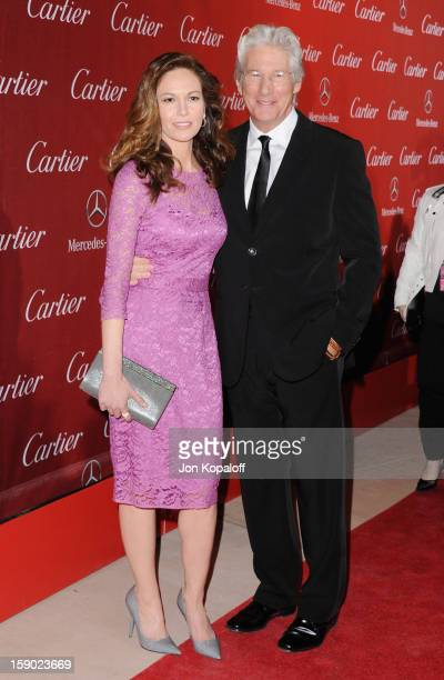 Actress Diane Lane and actor Richard Gere arrive at the 24th Annual Palm Springs International Film Festival Awards Gala at Palm Springs Convention...