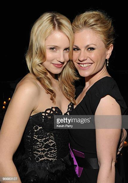 Actress Dianna Agron and actress Anna Paquin attend the Audi Golden Globes Celebration with Nominee Anna Paquin at the Sunset Tower Hotel on January...