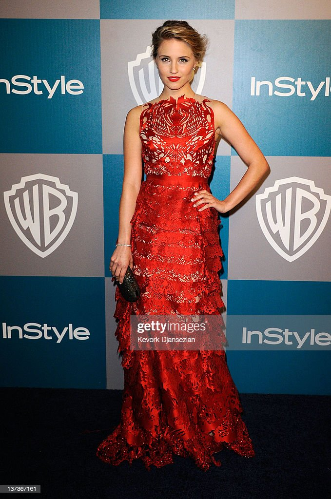 Actress <a gi-track='captionPersonalityLinkClicked' href=/galleries/search?phrase=Dianna+Agron&family=editorial&specificpeople=4439685 ng-click='$event.stopPropagation()'>Dianna Agron</a> arrives at 13th Annual Warner Bros. And InStyle Golden Globe Awards After Party at The Beverly Hilton hotel on January 15, 2012 in Beverly Hills, California.