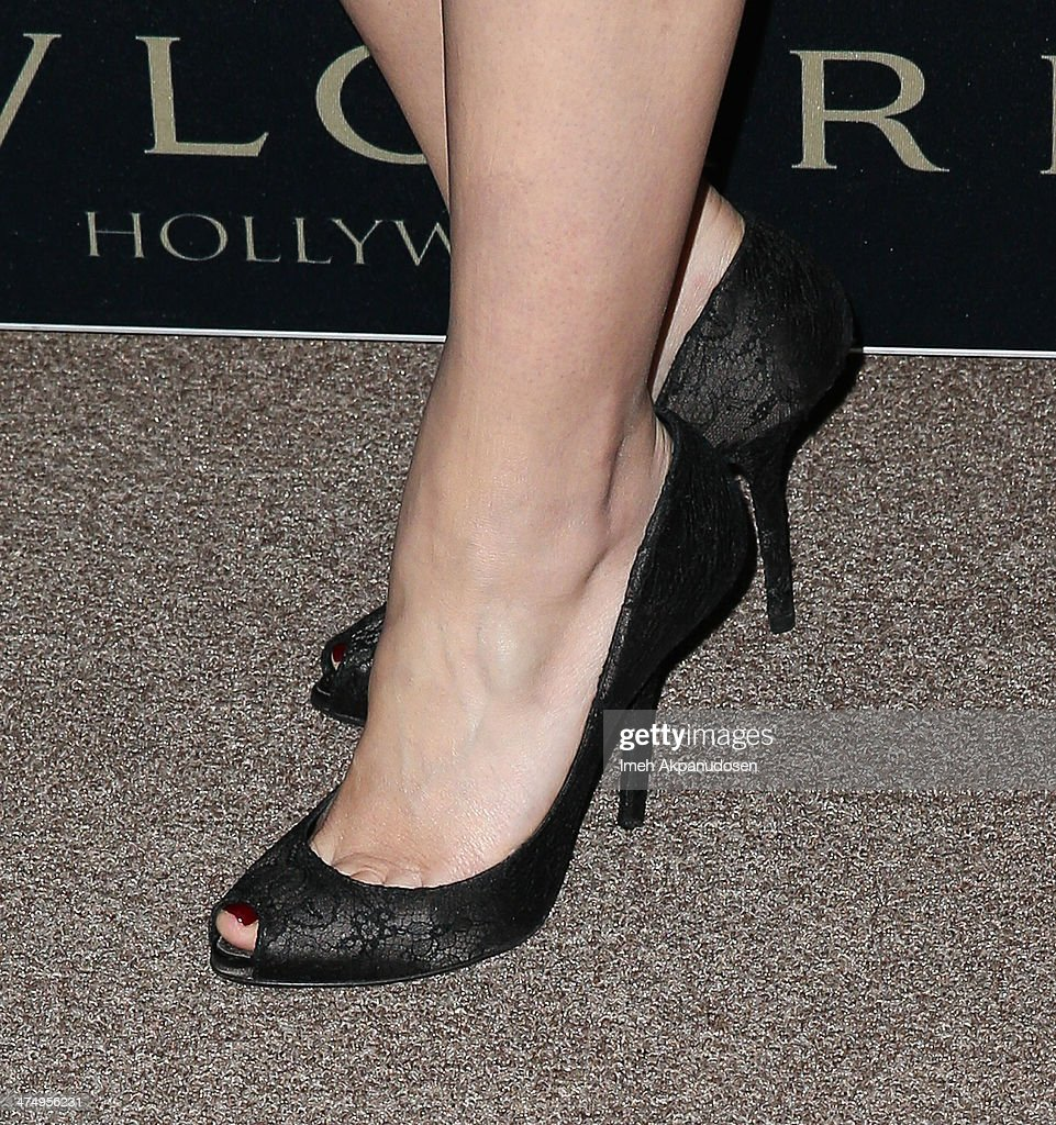 Actress Dianna Agron (shoe detail) attends the BVLGARI 'Decades of Glamour' Oscar Party at Soho House on February 25, 2014 in West Hollywood, California.