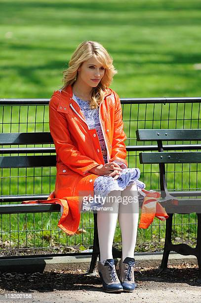 Actress Dianna Agron films a scene at the 'Glee' set in Central Park on April 26 2011 in New York City