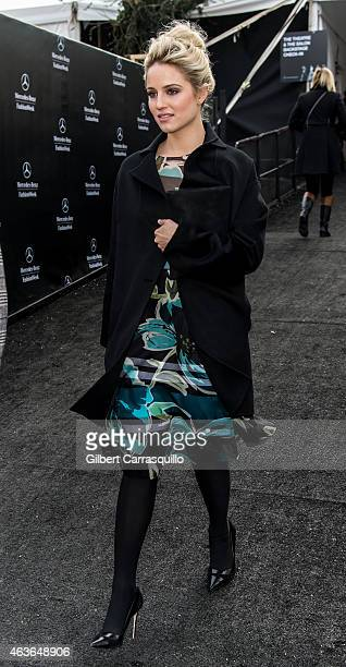 Actress Dianna Agron is seen arriving at Dennis Basso fashion show during MercedesBenz Fashion Week Fall 2015 at Lincoln Center on February 16 2015...