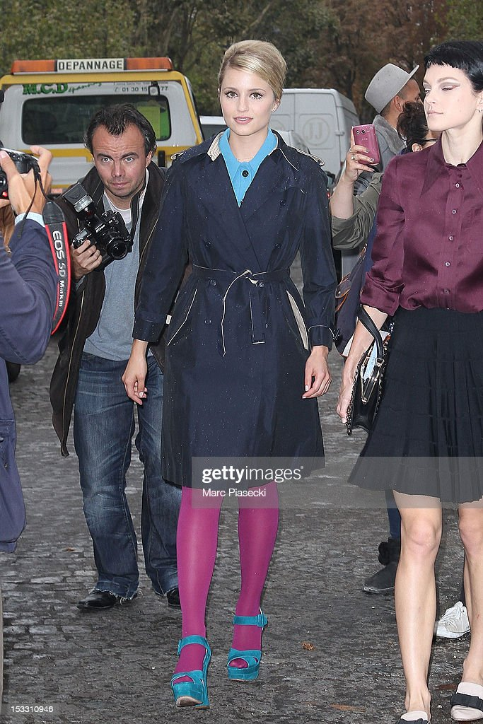 Actress Dianna Agron is seen leaving the Miu Miu Spring/Summer 2013 show as part of Paris Fashion Week on October 3, 2012 in Paris, France.