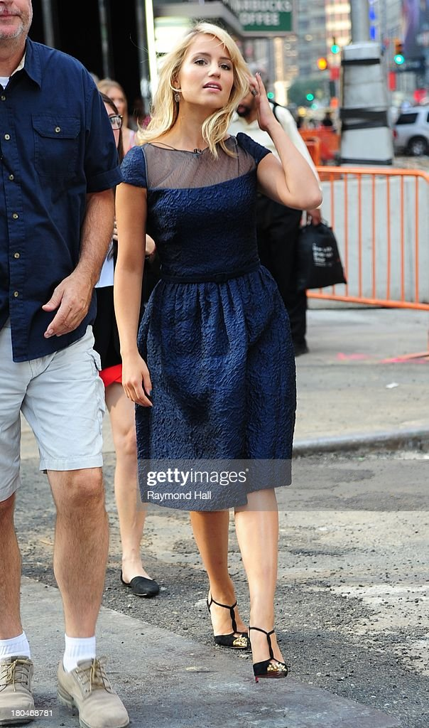 Actress Dianna Agron is sighted outside 'Good Morning America'on September 12, 2013 in New York City.