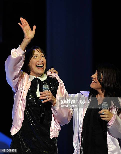 Actress Didi Conn and back up singer Marlen Landin perform 'Summer Nights' at Flamingo Las Vegas on January 3 2015 in Las Vegas Nevada