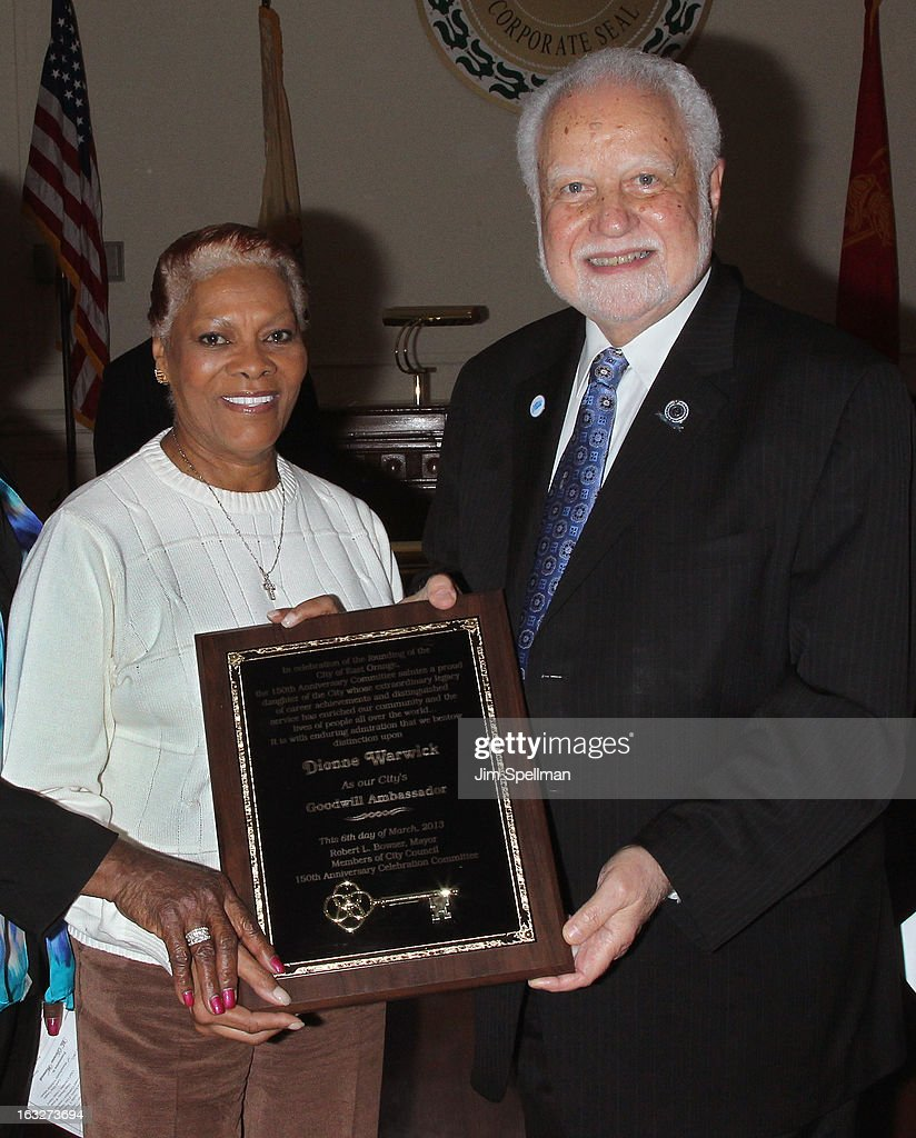 Actress <a gi-track='captionPersonalityLinkClicked' href=/galleries/search?phrase=Dionne+Warwick&family=editorial&specificpeople=213111 ng-click='$event.stopPropagation()'>Dionne Warwick</a> and Mayor of the City of East Orange NJ Robert L. Bowser attends the 150th Anniversary of East Orange, New Jersey at Council Chambers on March 6, 2013 in East Orange, New Jersey.